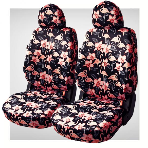 Pokrowce samochodowe - komplet black flamingo